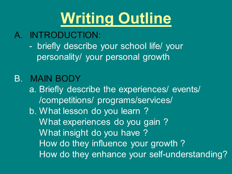 Writing Outline INTRODUCTION: