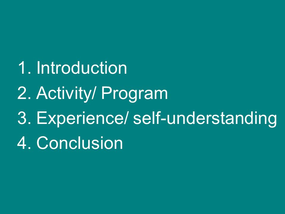 Introduction Activity/ Program Experience/ self-understanding Conclusion