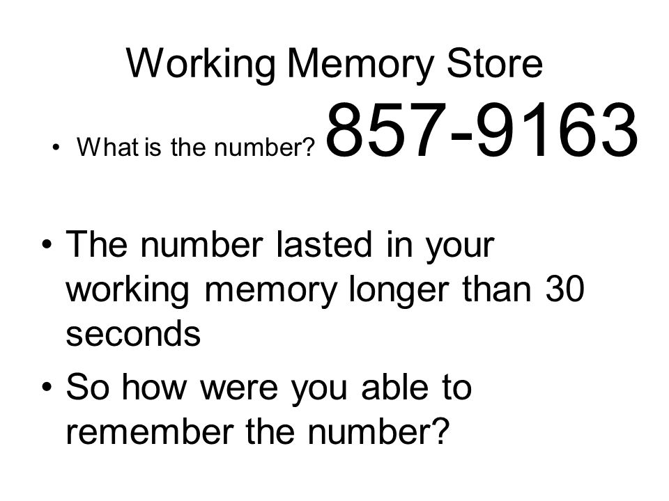 Working Memory Store What is the number 857-9163. The number lasted in your working memory longer than 30 seconds.