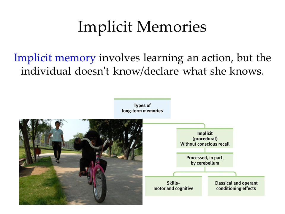 Implicit Memories Implicit memory involves learning an action, but the individual doesn't know/declare what she knows.