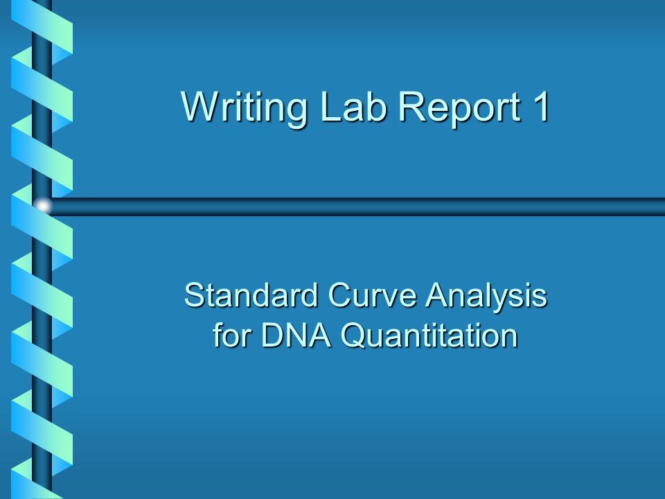 Standard Curve Analysis for DNA Quantitation