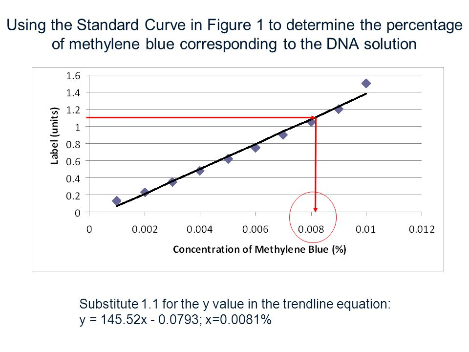 Using the Standard Curve in Figure 1 to determine the percentage of methylene blue corresponding to the DNA solution