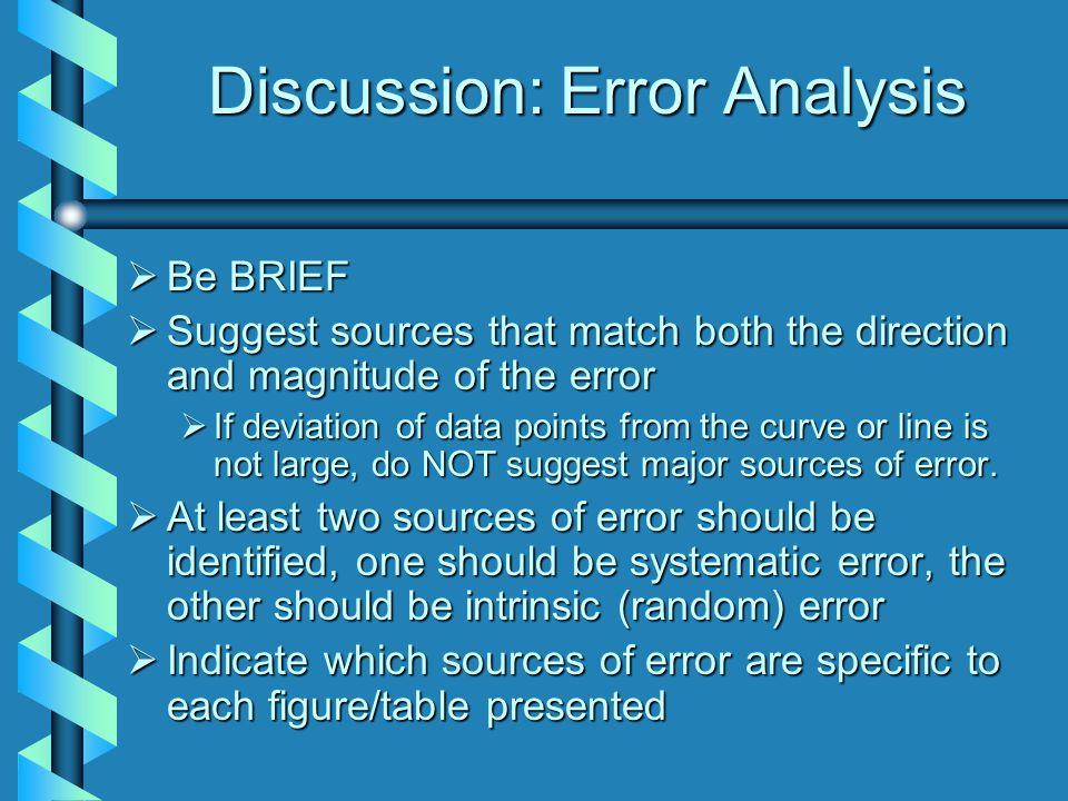 Discussion: Error Analysis