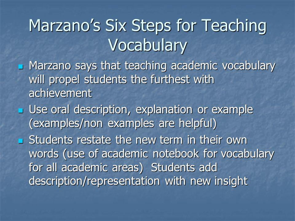 Marzano's Six Steps for Teaching Vocabulary