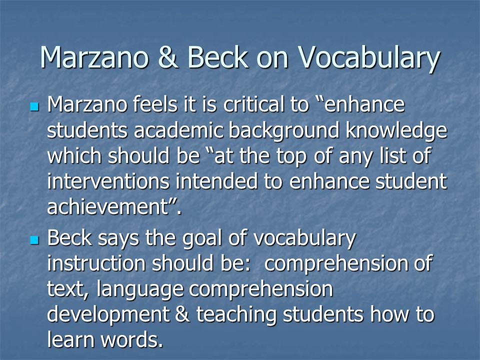Marzano & Beck on Vocabulary