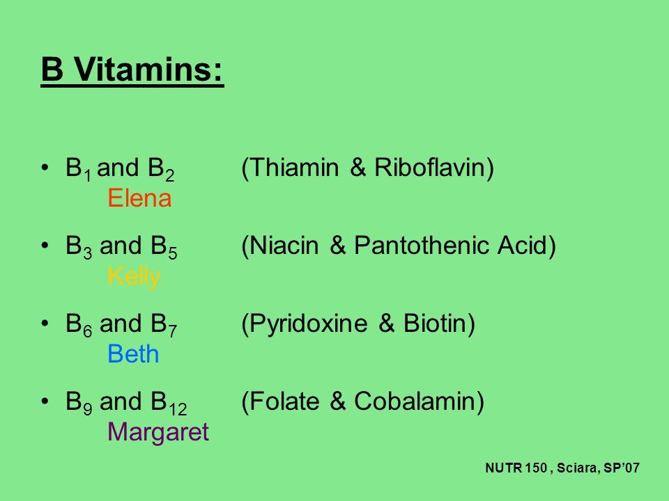B Vitamins: B1 and B2 (Thiamin & Riboflavin) Elena