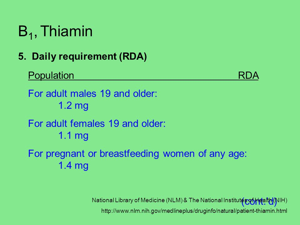 B1, Thiamin 5. Daily requirement (RDA) Population RDA