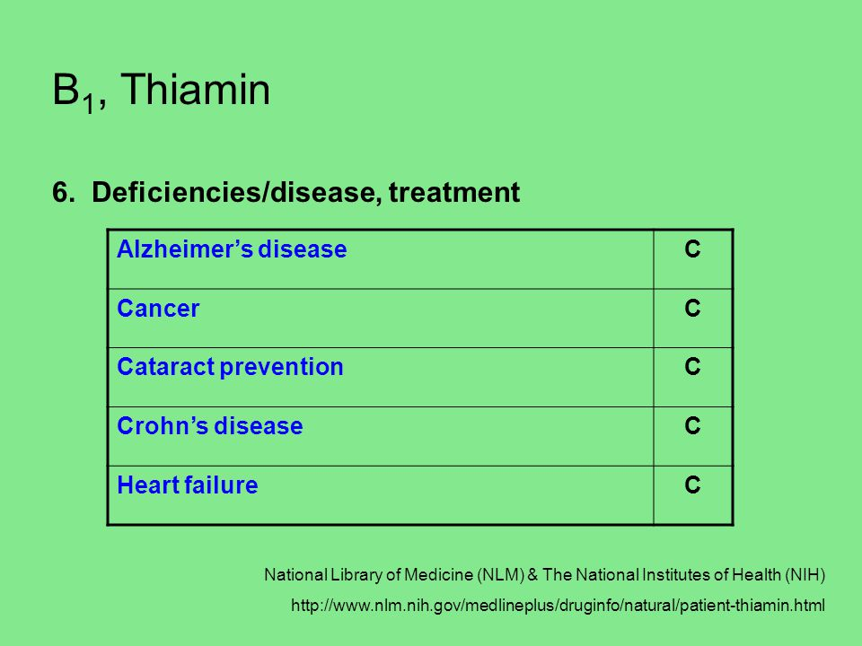 B1, Thiamin 6. Deficiencies/disease, treatment Alzheimer's disease C