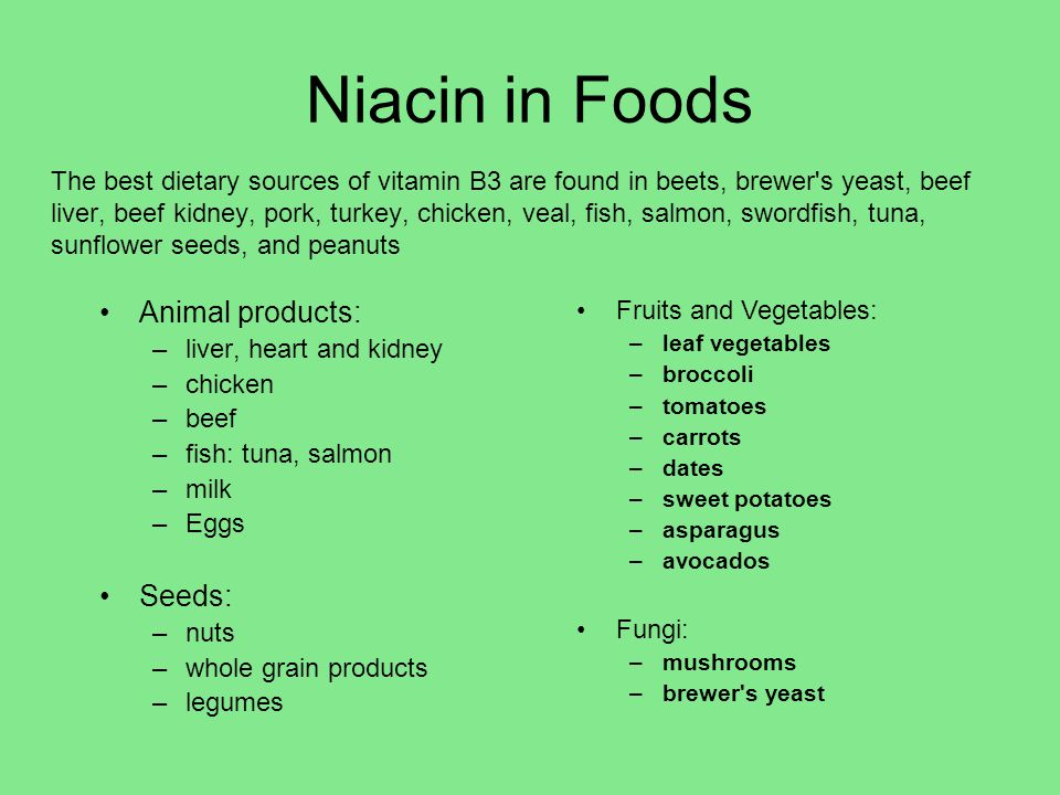 Niacin in Foods Animal products: Seeds: