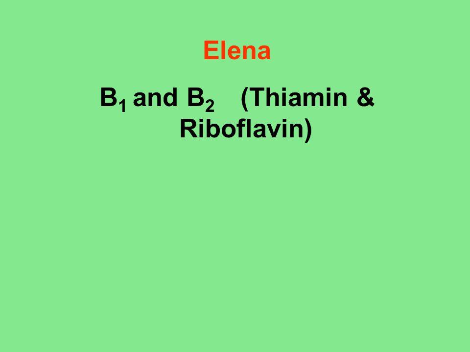 B1 and B2 (Thiamin & Riboflavin)
