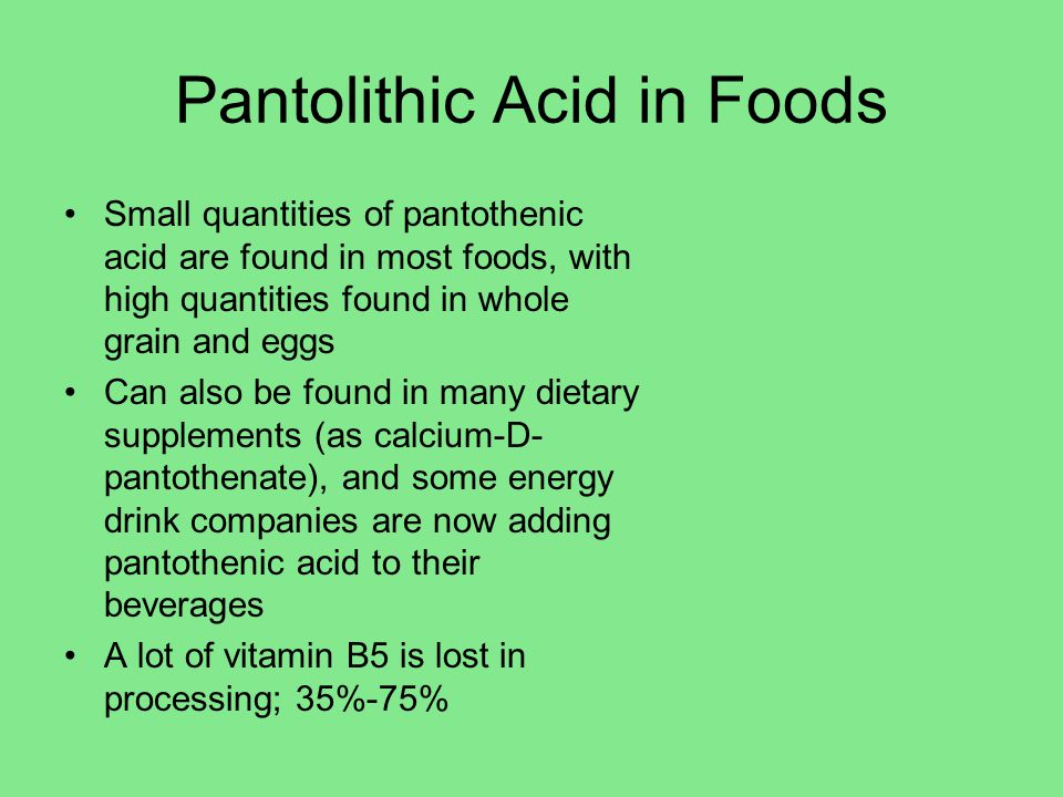 Pantolithic Acid in Foods