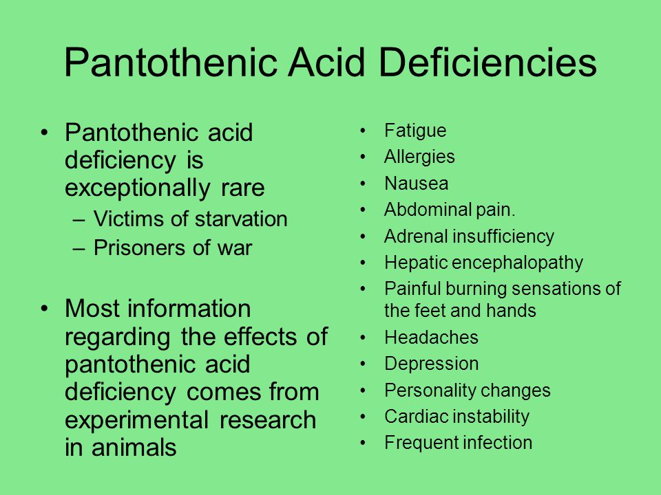 Pantothenic Acid Deficiencies