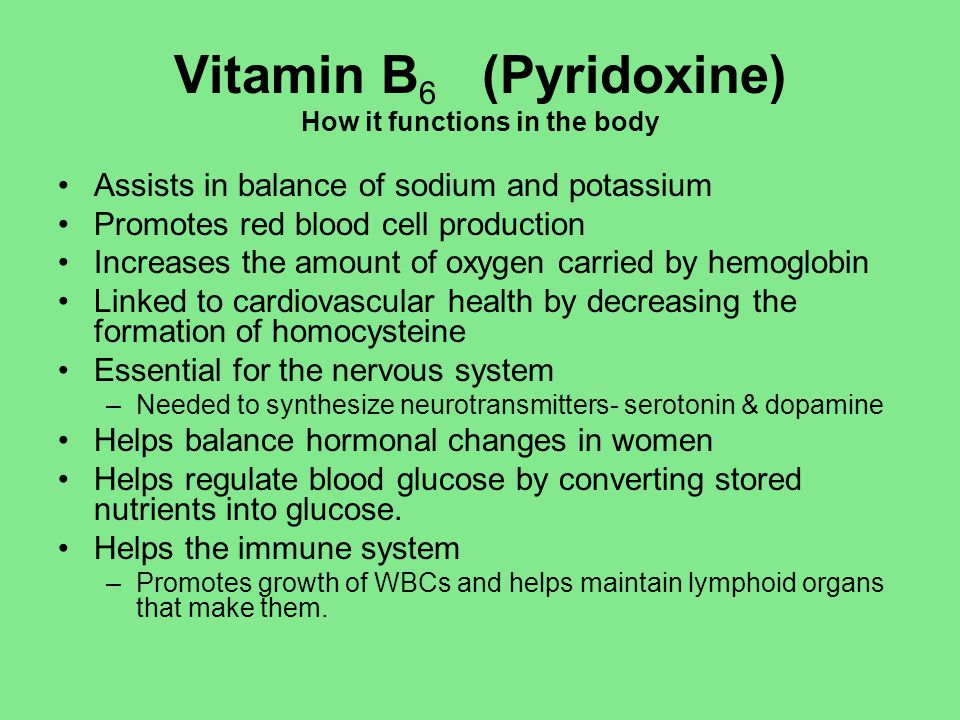 Vitamin B6 (Pyridoxine) How it functions in the body