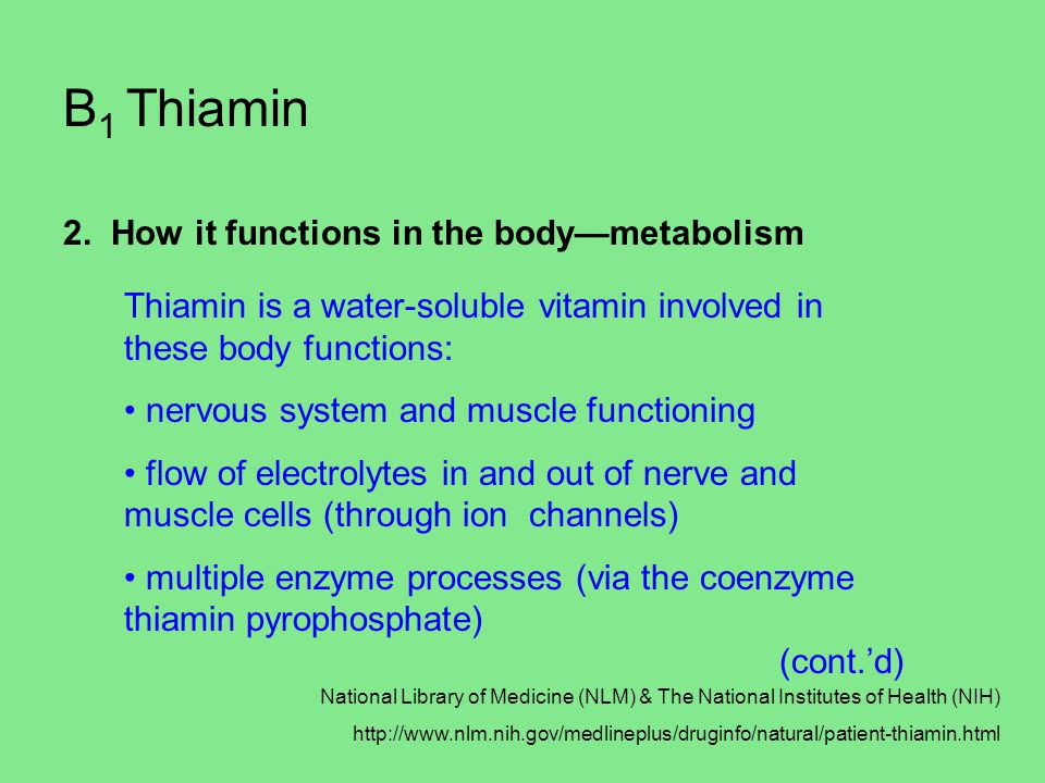 B1 Thiamin 2. How it functions in the body—metabolism