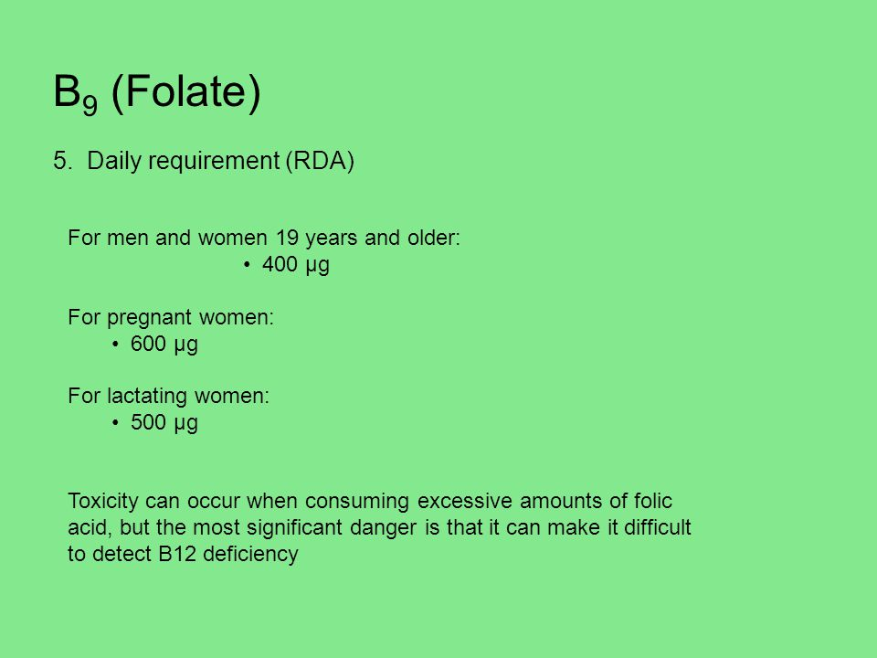 B9 (Folate) 5. Daily requirement (RDA)