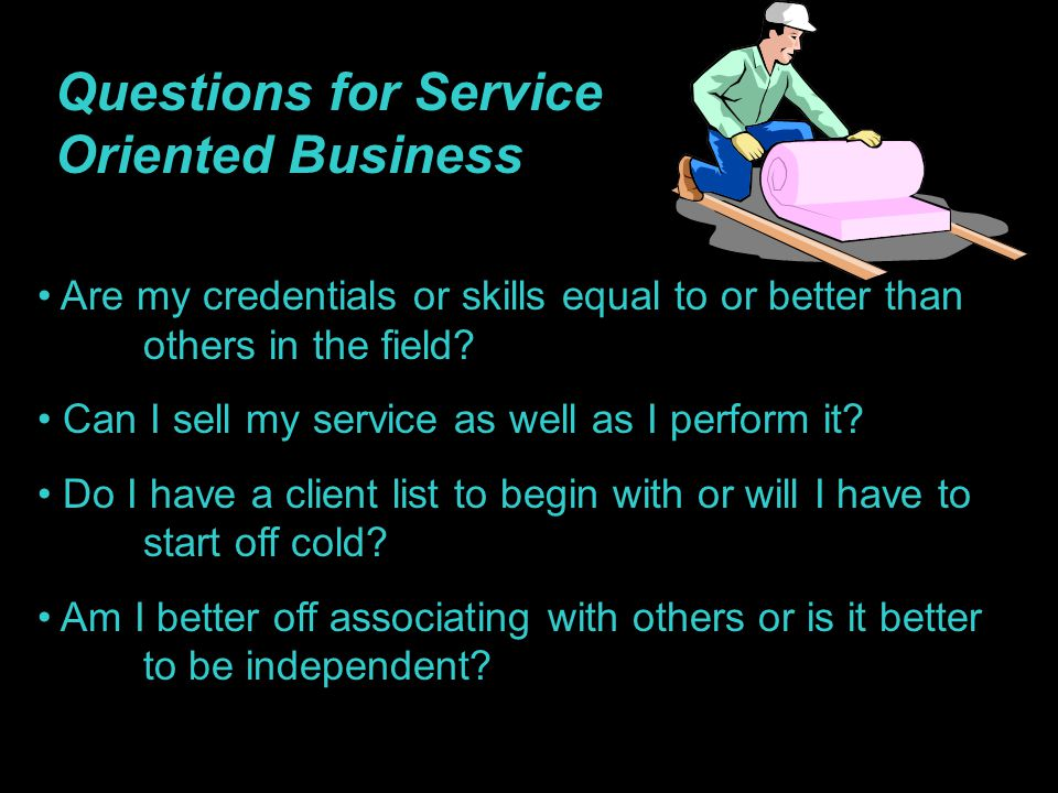 Questions for Service Oriented Business