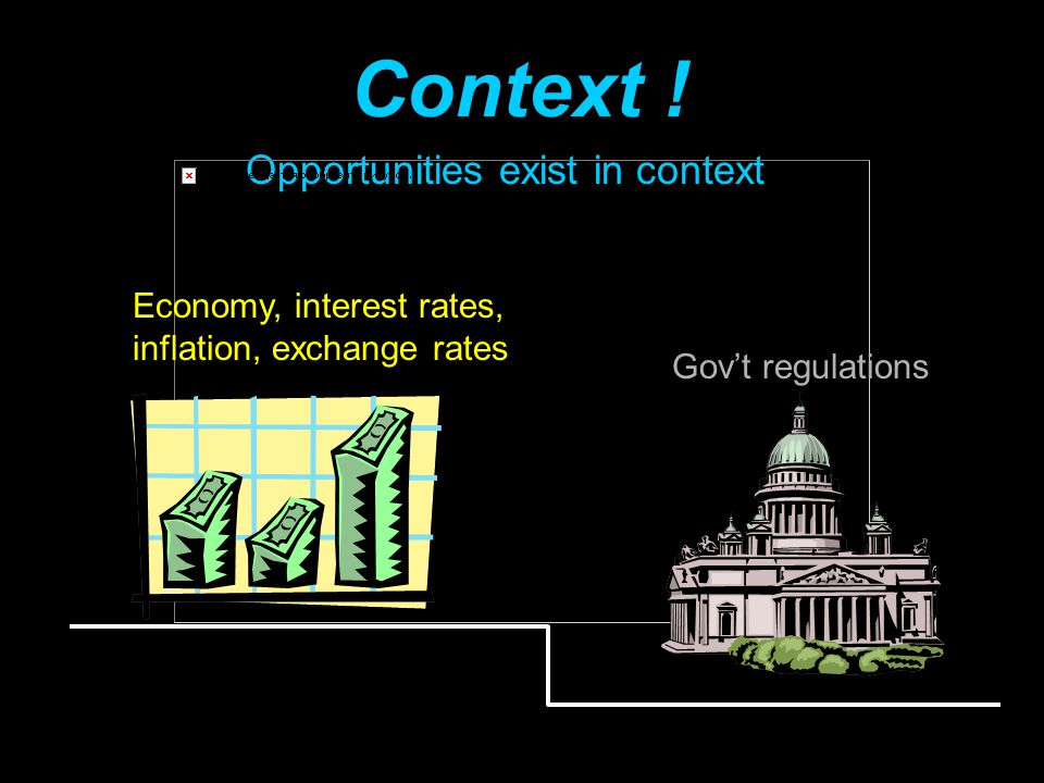 Context ! Opportunities exist in context Economy, interest rates,
