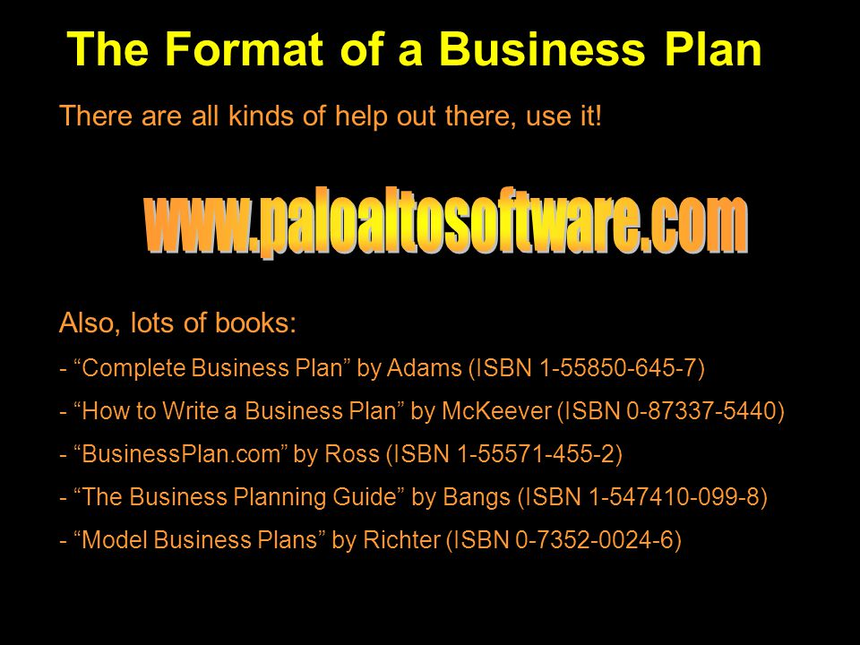 The Format of a Business Plan