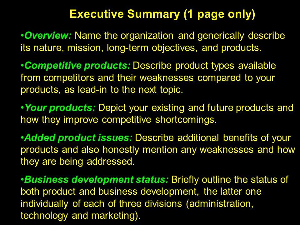 Executive Summary (1 page only)