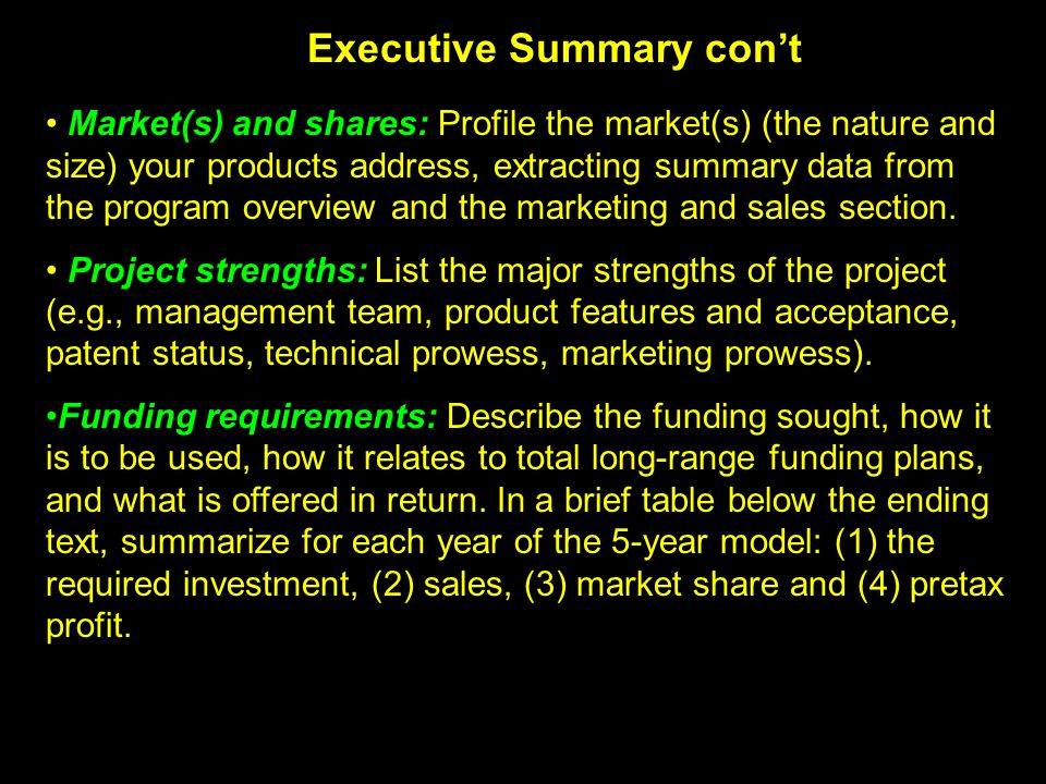 Executive Summary con't