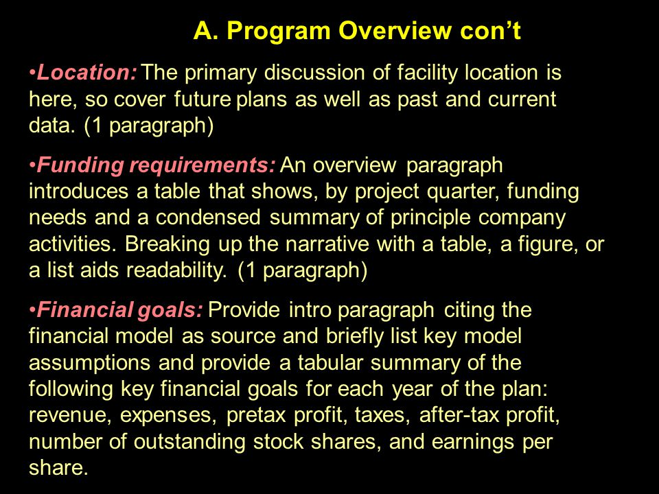 A. Program Overview con't