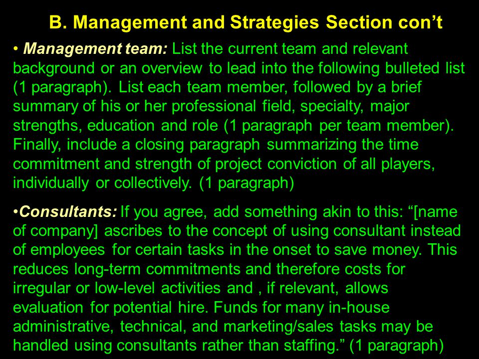 B. Management and Strategies Section con't