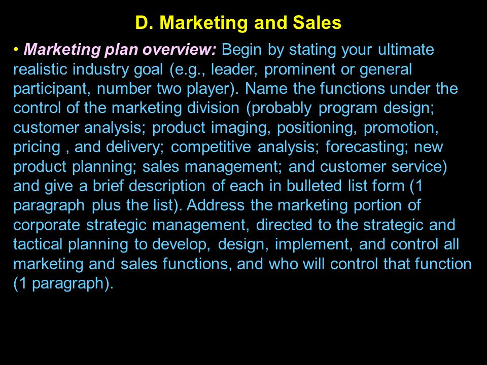 D. Marketing and Sales