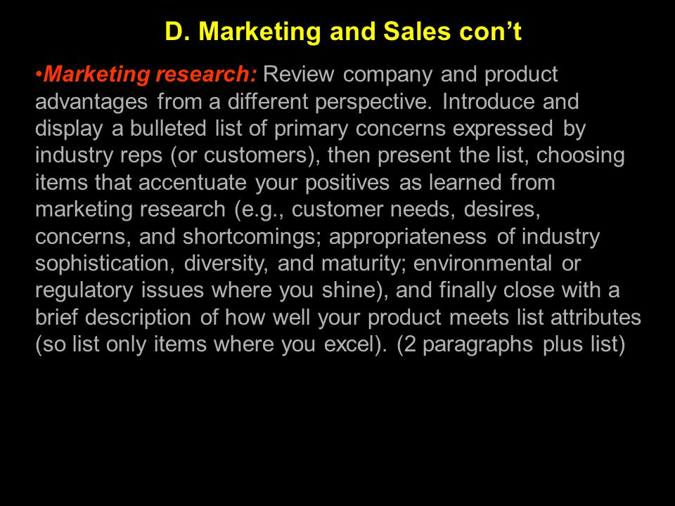 D. Marketing and Sales con't