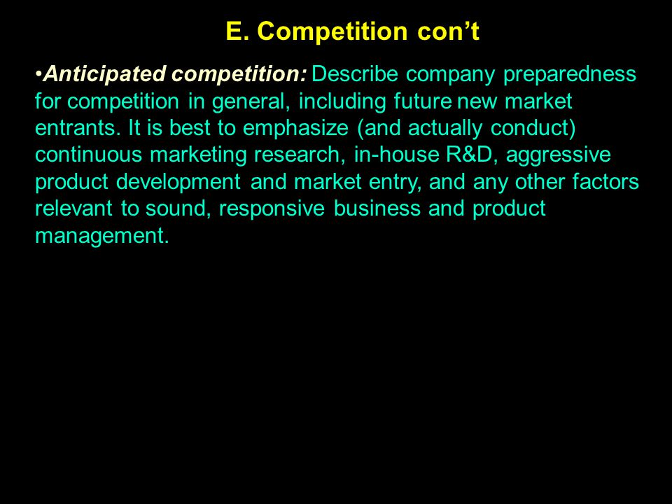 E. Competition con't