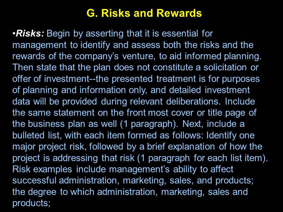 G. Risks and Rewards