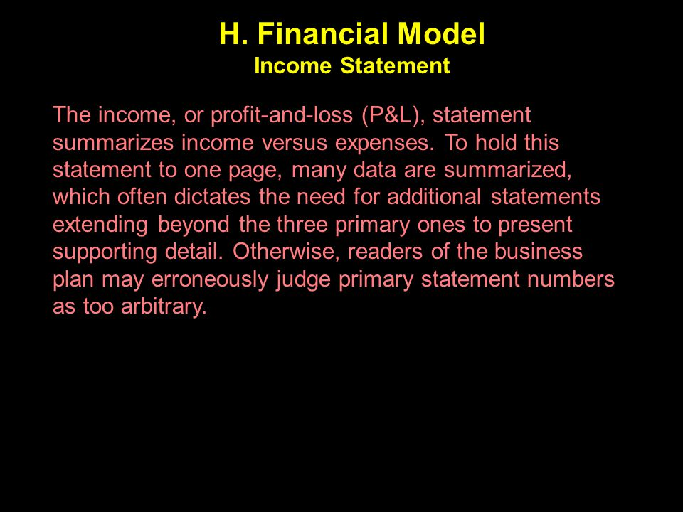 H. Financial Model Income Statement