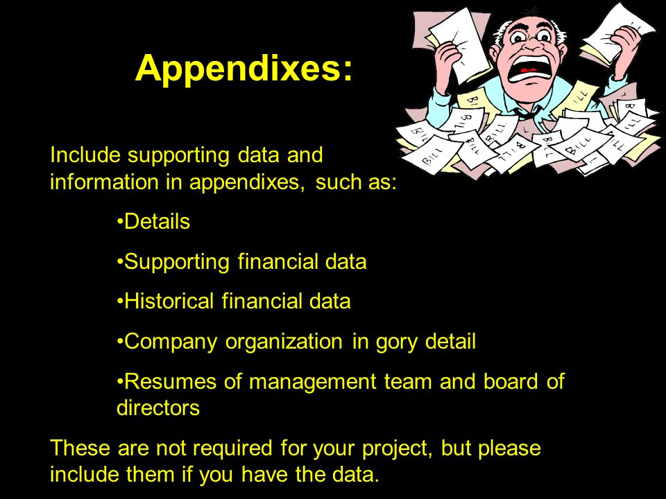 Appendixes: Include supporting data and information in appendixes, such as: Details. Supporting financial data.