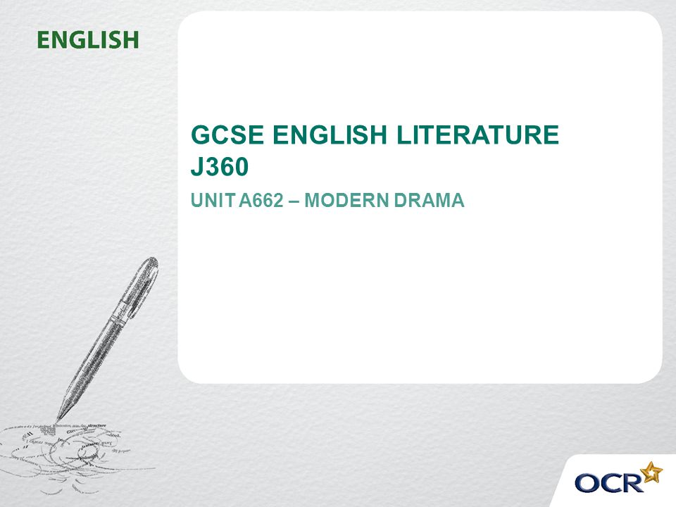 GCSE ENGLISH LITERATURE J360