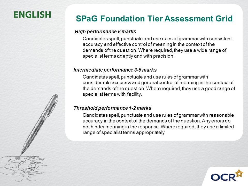 SPaG Foundation Tier Assessment Grid