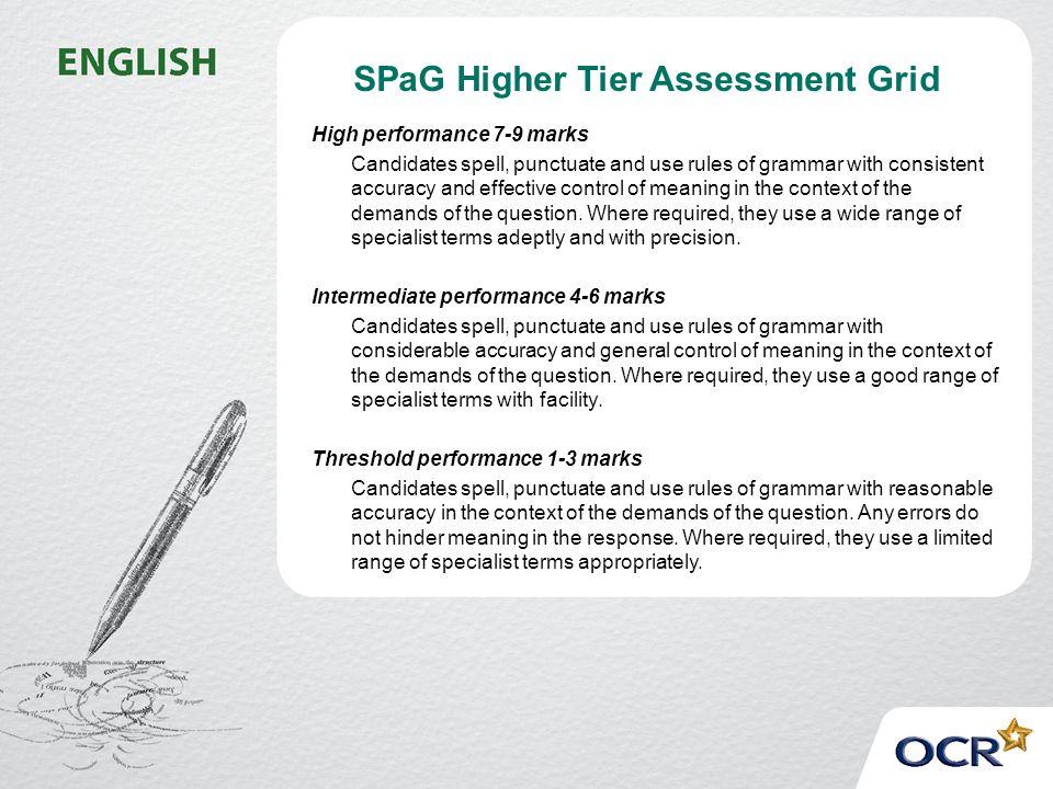 SPaG Higher Tier Assessment Grid