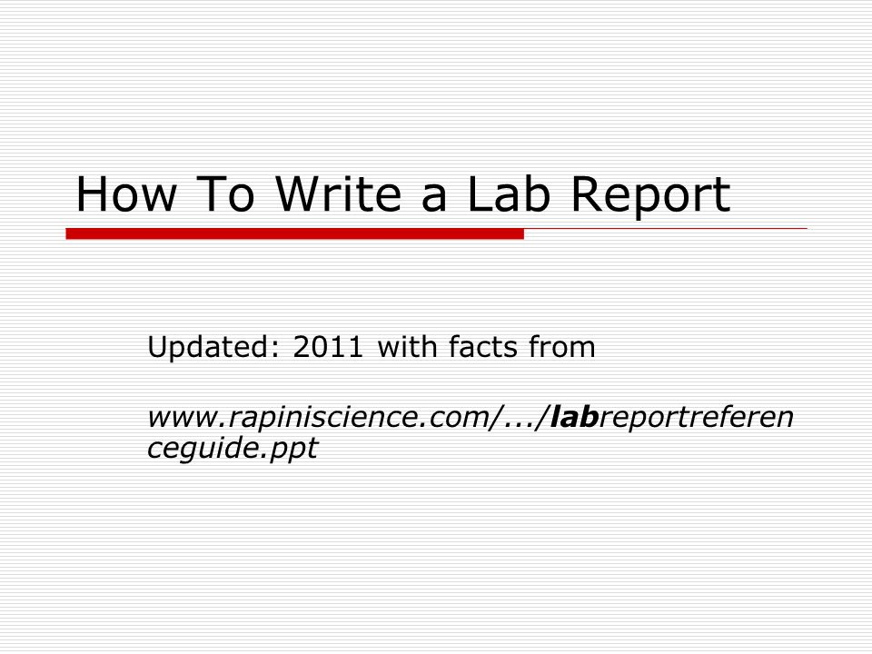 how to write a lab report pdf
