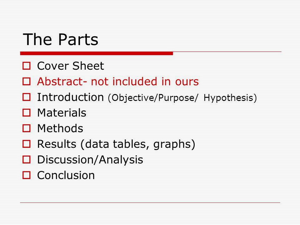 The Parts Cover Sheet Abstract- not included in ours
