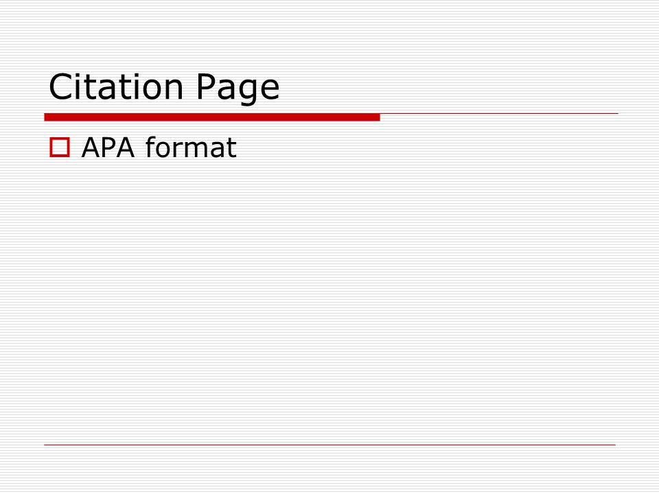 Citation Page APA format