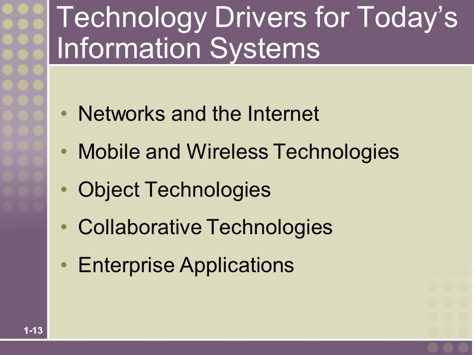 Technology Drivers for Today's Information Systems