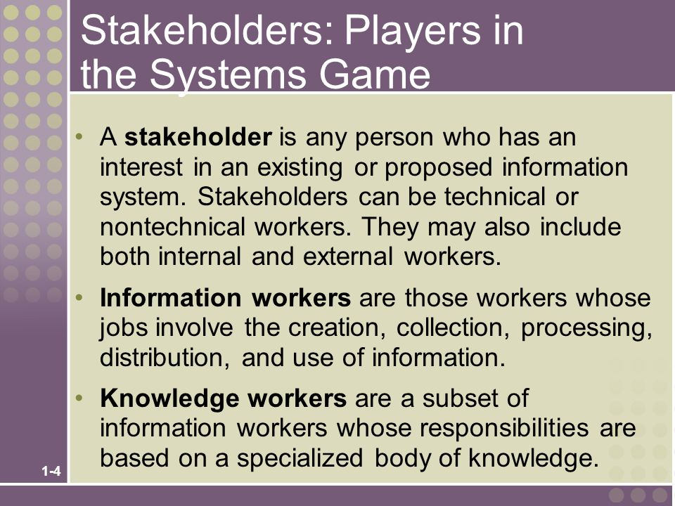 Stakeholders: Players in the Systems Game