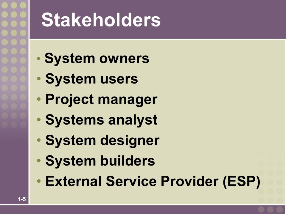 Stakeholders System users Project manager Systems analyst