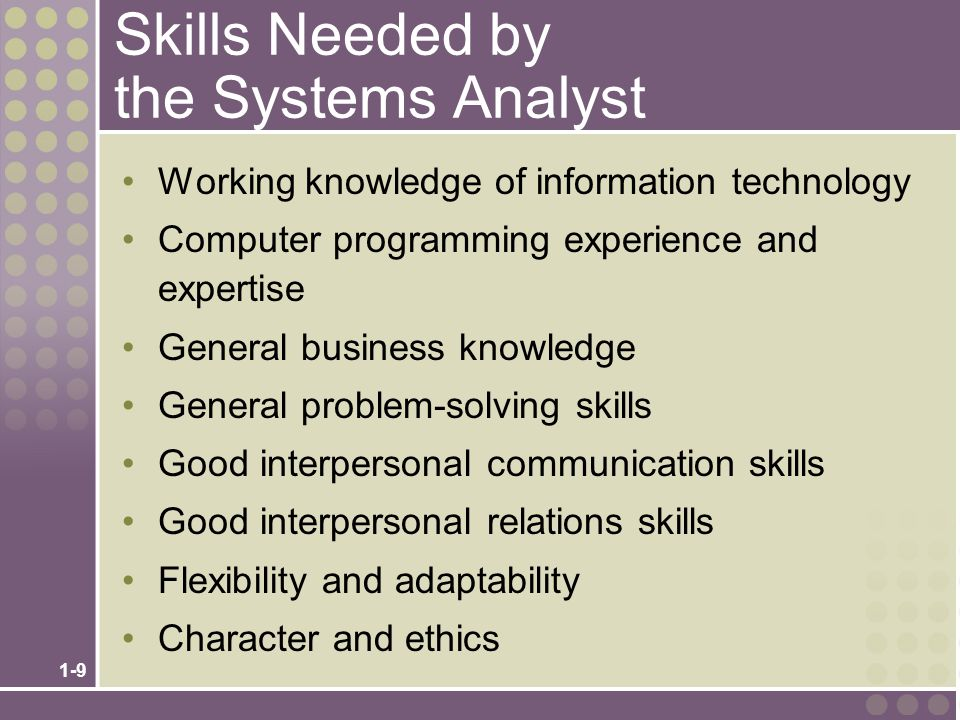 required skills of a systems analyst essay Career guide for computer systems analyst soc code: 15-1051  computer systems analyst positions in the  you will not be required to have all of the skills.
