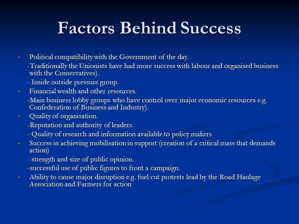 Factors Behind Success