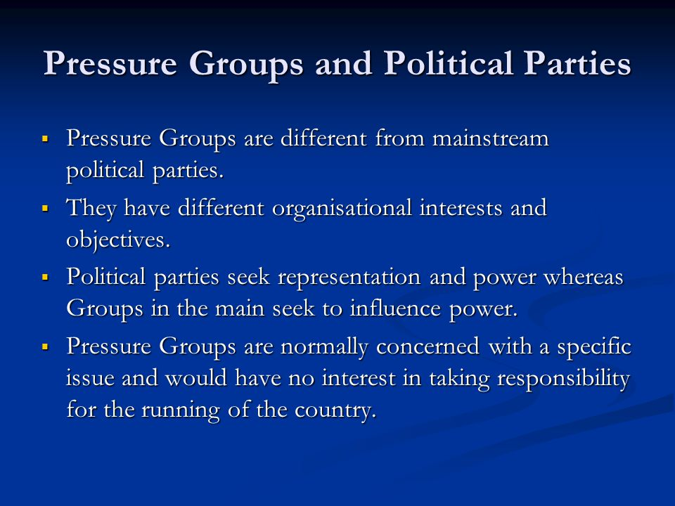 Pressure Groups and Political Parties