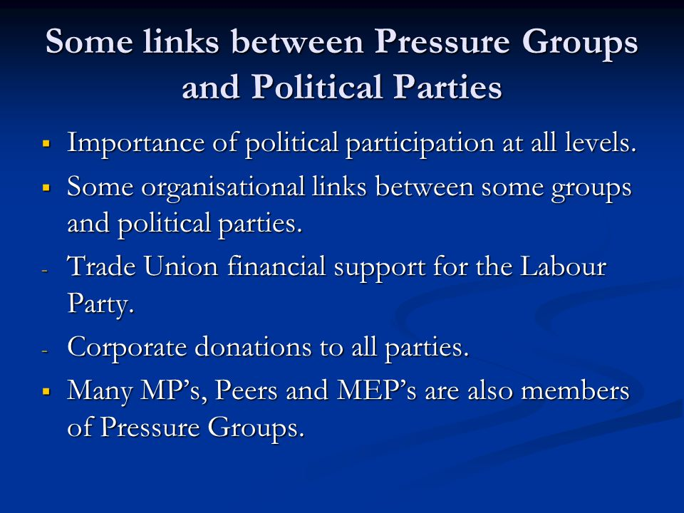 Some links between Pressure Groups and Political Parties