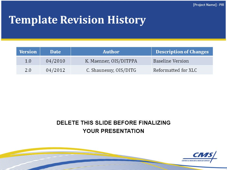 Template Revision History
