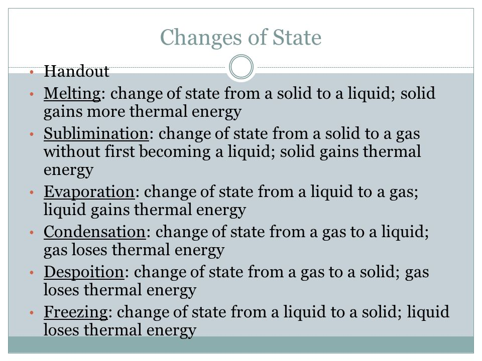 Changes of State Handout