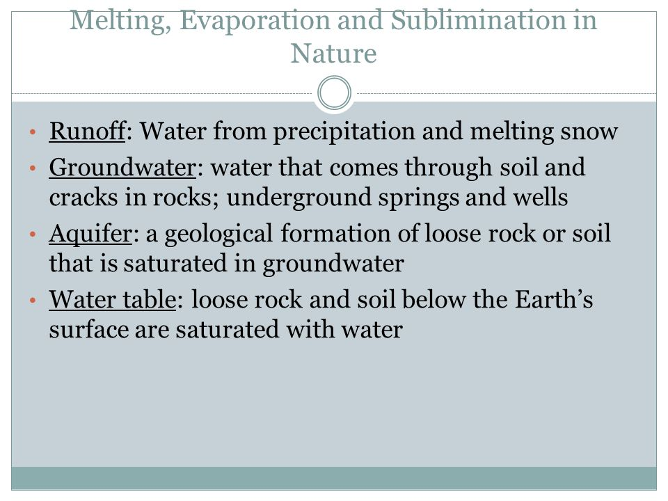 Melting, Evaporation and Sublimination in Nature