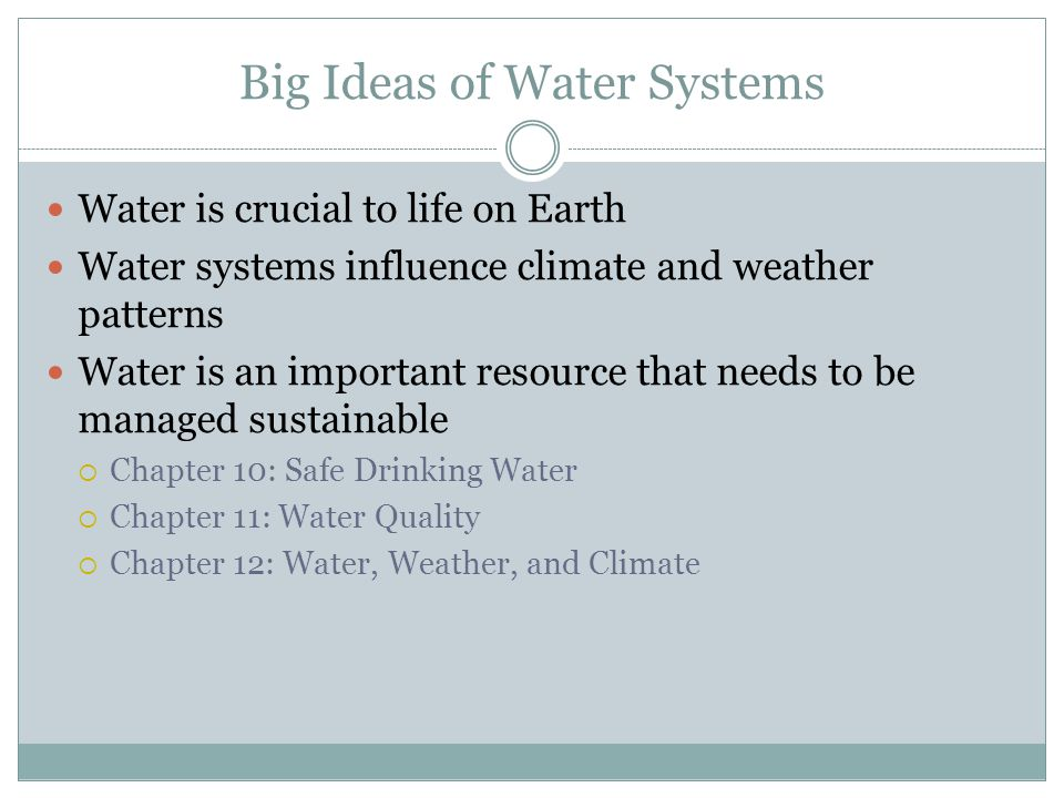 Big Ideas of Water Systems