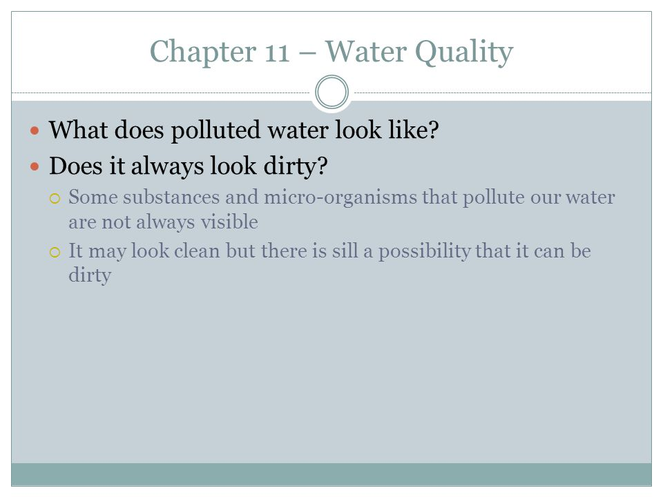 Chapter 11 – Water Quality